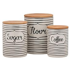 10 Strawberry Street Everyday 3-piece Canister Set - White and Black