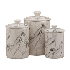 10 Strawberry Street Marble 3-piece Canister Set - White/Black