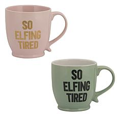 "10 Strawberry Street ""So Elfing Tired"" Mugs, Assorted Set of 2"