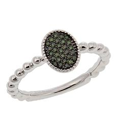 .10ctw Colored Diamond Oval Cluster Stackable Sterling Silver Ring