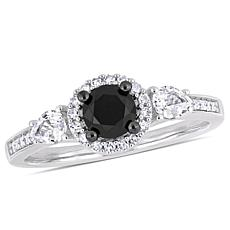 10K  Black and White Diamond and White Sapphire Round Halo  Ring