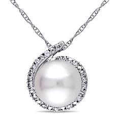 10K Cultured Pearl and Diamond Pendant with Chain