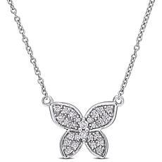 10K Gold 0.13ctw Diamond Butterfly Drop Necklace