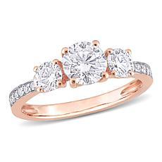 10K Gold 1.52ctw Moissanite Round Three-Stone Engagement Ring