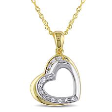 10K Gold Diamond-Accented 2-Tone Double Heart Pendant