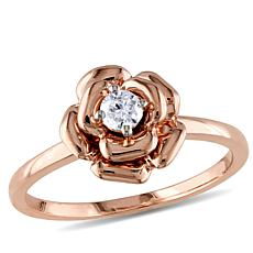 10K Rose Gold 0.14ctw White Diamond Rose-Design Ring