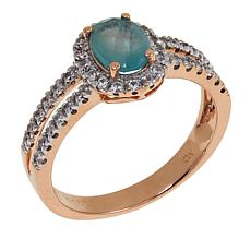 10K Rose Gold 1.08ctw Grandidierite and White Zircon Ring