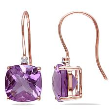 10K Rose Gold 7.02ctw Amethyst and Diamond Drop Earrings