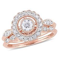 10K Rose Gold .73ctw Diamond Halo Bridal Ring Set