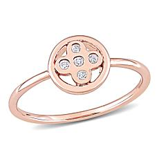 10K Rose Gold Diamond-Accent Circular Ring