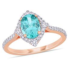 10K Rose Gold Diamond, Apatite and White Sapphire Halo Ring