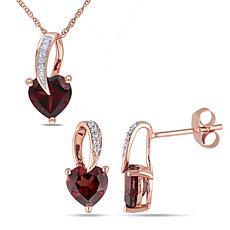 10K Rose Gold Garnet and Diamond Heart-Shaped Pendant and Earrings