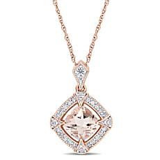 10K Rose Gold Morganite, Diamond and Created Sapphire Halo Necklace