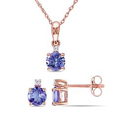 10K Rose Gold Tanzanite and Diamond Accent Necklace and Stud Earrings