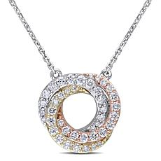 10K Tri-Tone Gold 0.50ctw Diamond Swirl Drop Necklace
