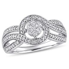 10K White Gold 0.25ctw Diamond Twist-Design Engagement Ring