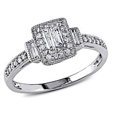 10K White Gold 0.31ctw Baguette and Round Diamond Ring