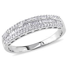10K White Gold 0.3ct Diamond Semi-Eternity Anniversary Band Ring