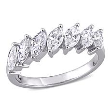 10K White Gold 1.75ctw Marquise-Cut Created Moissanite Engagement Ring