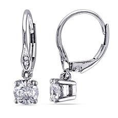 10K White Gold 1ctw White Diamond Drop Earrings