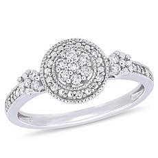 10K White Gold .20ctw Diamond Round Pavé Engagement Ring