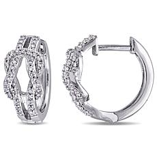 10K White Gold .23ctw White Diamond Bow Crossover Hoops