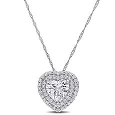 10K White Gold 2.50ctw Moissanite Heart Halo Necklace