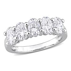 10K White Gold 2.50ctw Oval-Cut Created Moissanite Semi-Eternity Ring