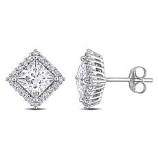 10K White Gold 2.76ctw Moissanite Princess-Cut Pavé Halo Stud Earrings