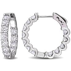 10K White Gold 2.92ctw Moissanite Round Inside-Outside Hoop Earrings