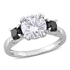 10K White Gold 2ctw Moissanite and .76ctw Black Diamond 3-Stone Ring