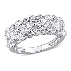 10K White Gold 3.1ctw Moissanite and 0.08ctw Diamond Cluster Band Ring