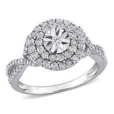 10K White Gold .33ctw Diamond Cluster Ring