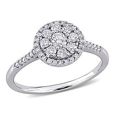 10K White Gold .5ctw Diamond Cluster Halo Engagement Ring