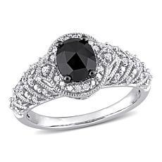10K White Gold .95ctw Black and White Diamond Halo Engagement Ring