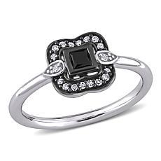 10K White Gold Black and White Diamond Bohemian Ring