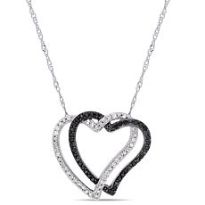 10K White Gold Black and White Diamond Double Open Heart Necklace