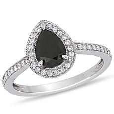 10K White Gold Black and White Diamond Double Teardrop Ring