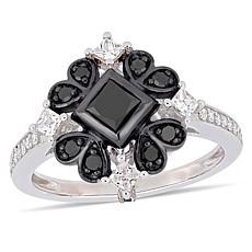 10K White Gold Black and White Diamond Square Vintage-Inspired Ring