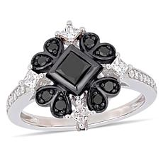 10K White Gold Black and White Diamond Square Vintage-Inspired Ring
