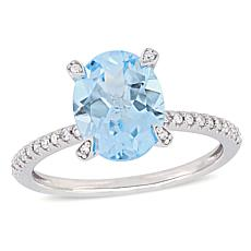 10K White Gold Diamond-Accented Sky Blue Topaz Engagement Ring