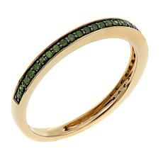10K Yellow Gold 0.18ctw Green Diamond Band Ring