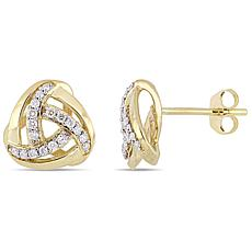10K Yellow Gold 0.20 ctw Diamond Knot Stud Earrings