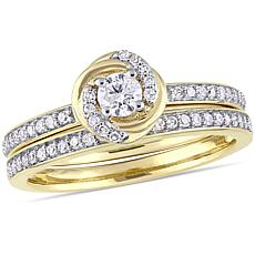 10K Yellow Gold 0.50ctw Diamond Bridal Set Ring