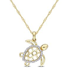 10K Yellow Gold Diamond-Accented Open Turtle Pendant with Chain