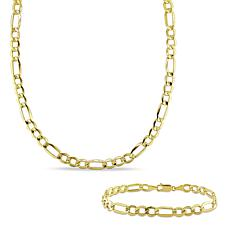 10K Yellow Gold Men's Figaro Link Chain Necklace and Bracelet Set