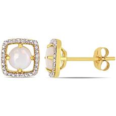 10K Yellow Gold Opal and Diamond Stud Earrings