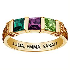 10K Yellow Gold Square Family Birthstone Ring - 3 Stones