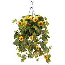 "11"" Artificial Sunflower Hanging Basket"