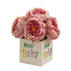 11 in. Rose Artificial Arrangement in New Baby Vase